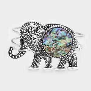 Jewelry - Embossed Metal Elephant Abalone Wire Hinged Bracel